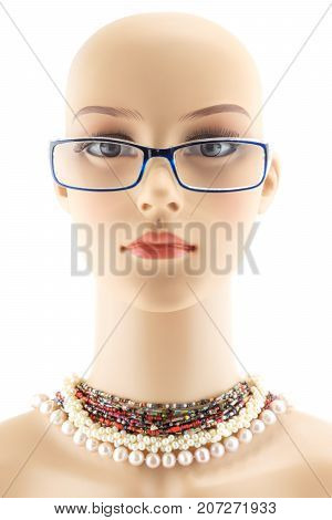 woman mannequin head fake without hair isolated on white background