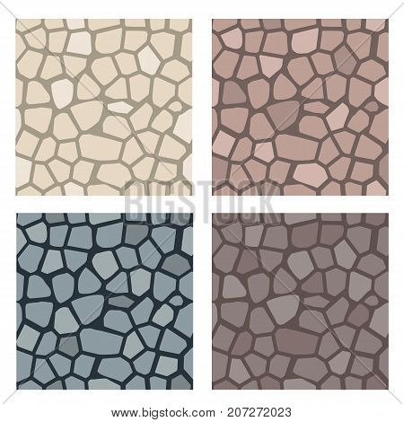 Stone texture set. Stones for wall or pavement seamless pattern. Vector illustration