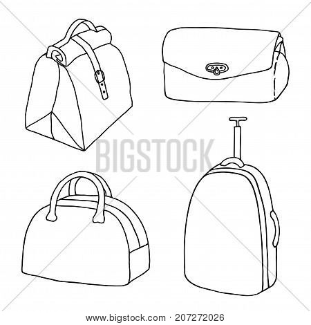 Handbags travel bags ladies bags set. Suitcase luggage clutch briefcase purse. Hand drawn vector sketch collection.
