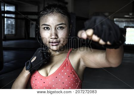 corporate portrait of sexy beautiful and sweaty young Asian woman in sport cloths and fighting gloves throwing punch in combat and fight training workout exercise at gym dojo in fitness lifestyle concept