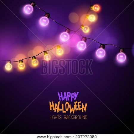Glowing halloween decoration fairy lights. Vector illustration.