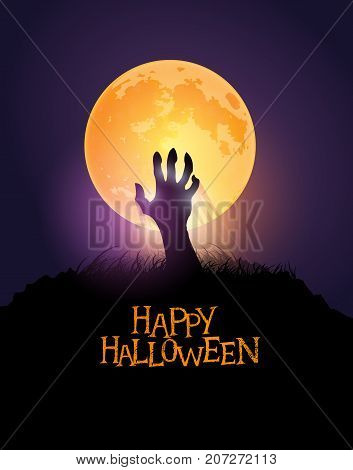 Zombie hand rising from the ground against a halloween orange moon. Vector illustration.