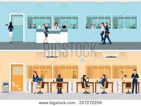 Modern office with desk and office worker office building both inside and outside the window vector illustration.