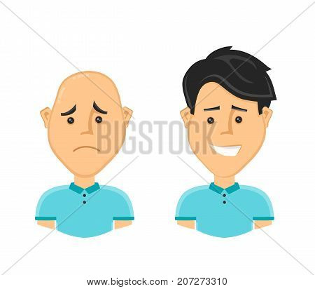 sad bald man and a happy man with a beautiful luxuriant long hair. Vector design flat cartoon character illustration. Isolated on white background. baldness concept