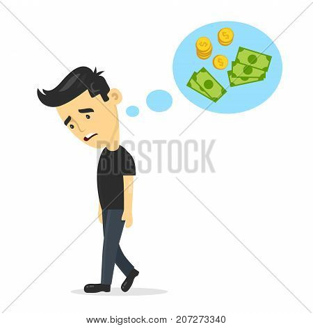 sad young guy without work dreaming, thinks about money. vector flat cartoon man character design illustration. Isolated on white background. unemployment business concept
