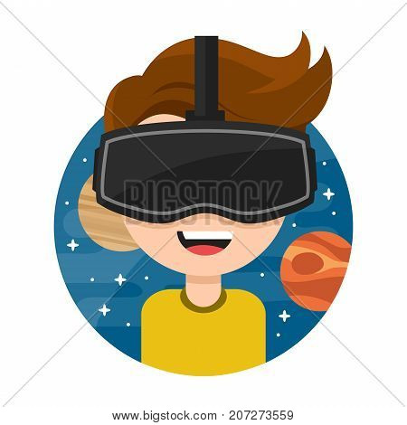 Young man with glasses of virtual reality. .. Flat vector icon cartoon character illustration design. New Gaming Cyber technologies. Glasses VR. Space. Isolated on white background
