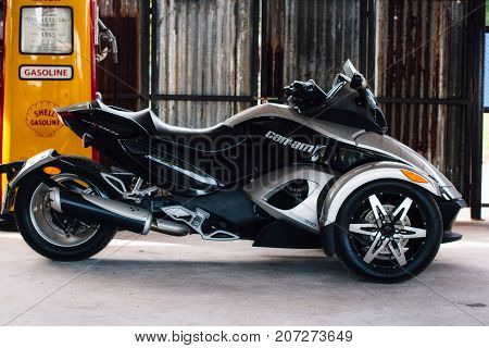 Thailand - AUGUST 13 2017: Trike or tricycle vehicle Spyder is made by Bombardier Recreational Products or BRP is a Canadian company