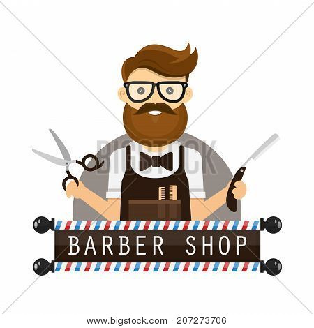young hipster man barber. vector flat design illustration icon cartoon character. concept logo for barber shop. scissors and a razor in hands, glasses, beard. isolated on white background