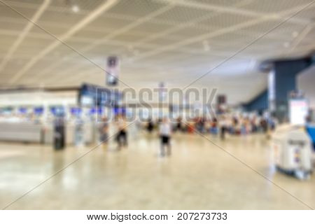 blurred of checkin counter in departure terminal airport for background