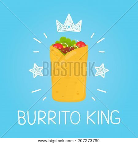King burrito. vector cartoon flat and doodle fun isolated  illustration. Crown and stars icon. burrito cafe,  meal, delivery, fast food concept design