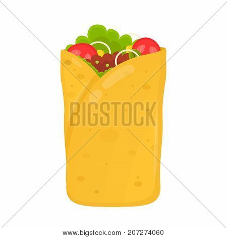 fast food concept. burrito flat vector illustration isolated on white background icon. burrito ingredient, original recipe, mexican food