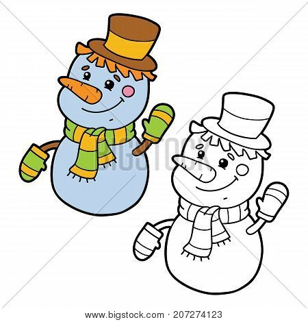 Vector illustration coloring page of cartoon snowman character for children, coloring and scrap book