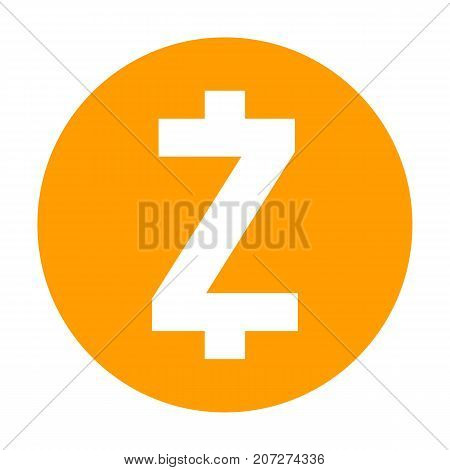 Zcash icon for internet money. Crypto currency symbol for using in web projects or mobile applications. Blockchain based secure cryptocurrency. Isolated vector sign.