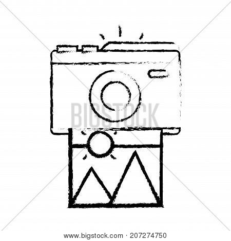 figure digital camera with picture art image vector illustration