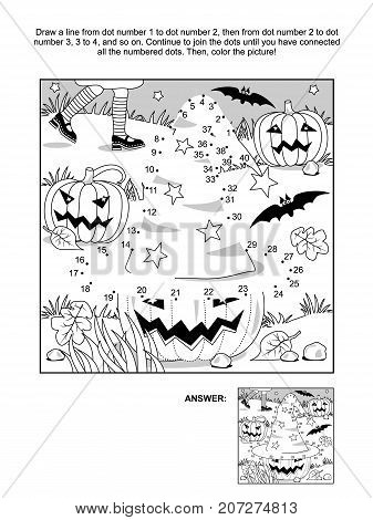Connect the dots picture puzzle and coloring page - Halloween scene with witch hat, pumpkins, bats, and young witch legs. Answer included.