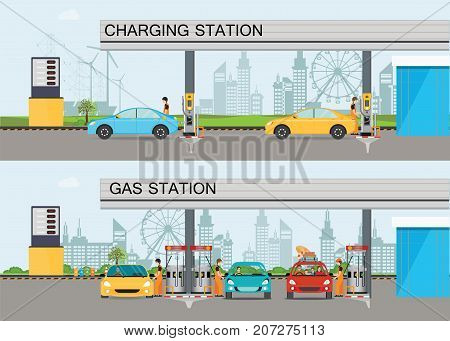 Two horizontal banners with charging station and Gasoline and oil station or gas filling station Energy conceptual Vector flat illustration.