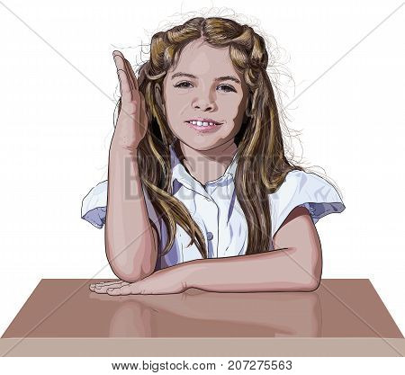 primary school schoolgirl sitting at the desk raised his hand to answer a question