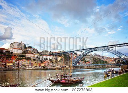 Dom Luis bridge, Portugal, retro toned