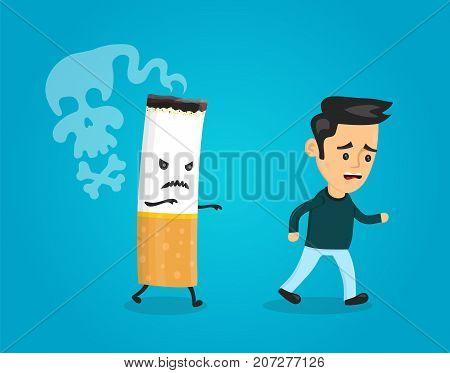 Cigarette runs after man. Stop smoking concept. Cigarette kills. Vector flat cartoon character illustration