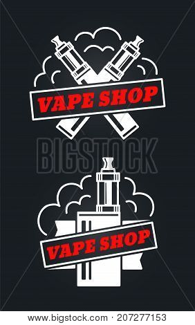 vape shop hipster vintage retro logo vector design. white logo isolated on white background. Vaping, vaporize, vapor, vaporizer, vape, e-cigarette, e-cig icon set