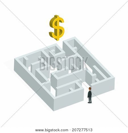 Isometric 3d creative business concept. Labyrinth solution and businessman. Vector flat illustration.  In search of profit and money. Isolated on white background