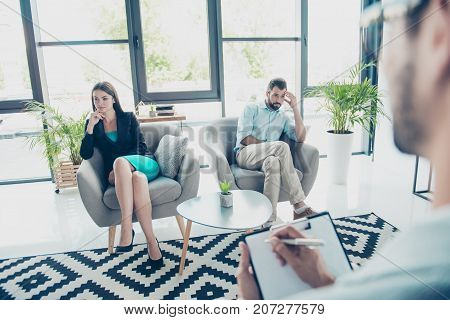 I Am Not Talking To You! Mistrust And Cheat Problems. Annoyed Couple Is Ignoring Each Other, Sitting