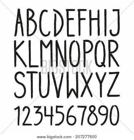 Hand Drawn Hipster Vintage Letters And Numbers Font Marker Lettering Grunge Sans