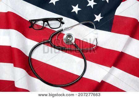 Stethoscope And Usa Flag