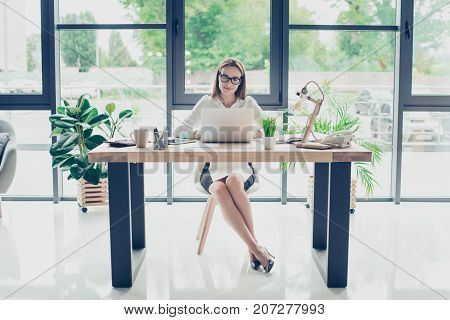 Development, Authority, Feminity Concept. Full Length Of Pretty Business Woman, Sitting At Her Light