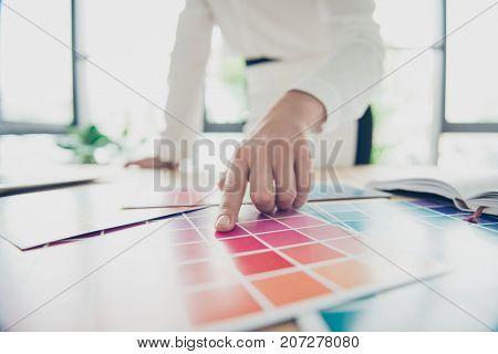 Creative Occupation. Close Up Of Hand Of Female Graphic Designer, Interior Designer, Architect, Styl