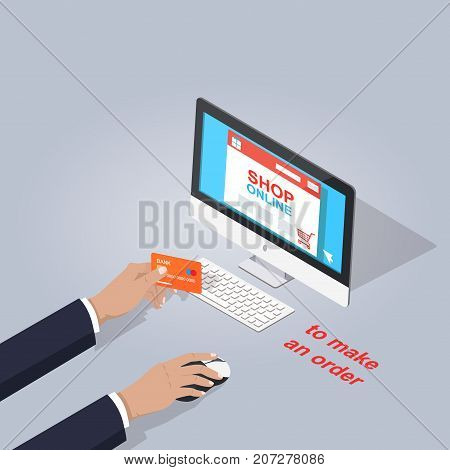 Make order in online shop on computer flat theme on gray background. Human's hands holding debit card and notebook mouse. Vector illustration of electronic commerce in cartoon style graphic design.
