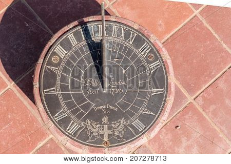 STAMPRIET NAMIBIA - JULY 5 2017: A sundial at the Dutch Reformed Church in Stampriet a small town of the Hardap Region in Namibia