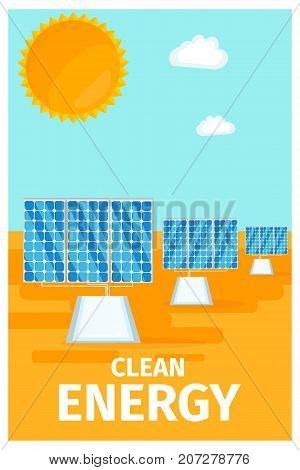 Clean energy poster with solar system batteries and big sun vector illustration. Innovative technology of production electricity