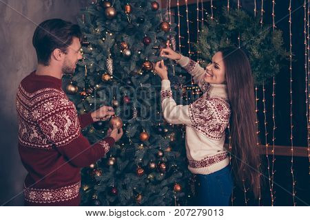 Cheerful Husband And Wife With Long Brunette Hair Are So Excited Setting The Decorative Firtree, Kni