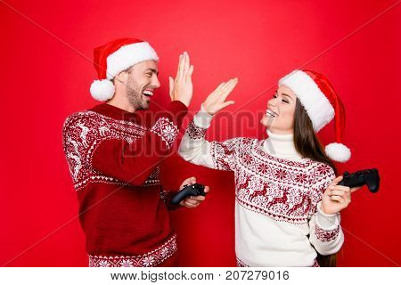 Happiness, Winter, Chill, December, Noel, Mode. Excited Married Couple In Traditional X Mas Head Wea