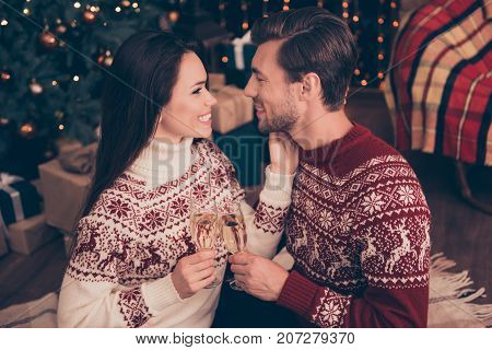 Festive Friends With Stemware Of Martini Embrace Bonding, So Excited In Knitted Cute Traditional X M