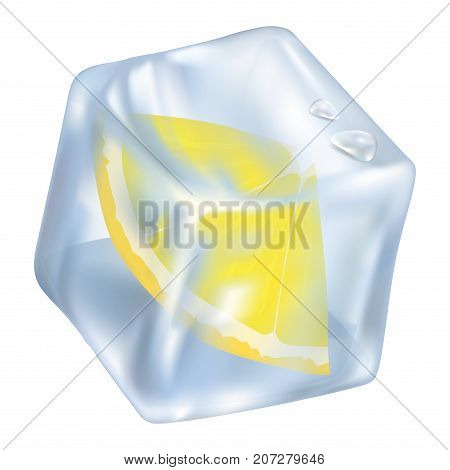 Ice cube with frozen slice of lemon closeup icon vector illustration. Glacial square with two water drops isolated on white.