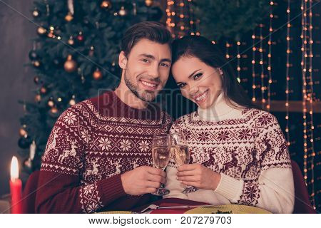 Festive Friends With Stemware Of Martini Embrace Sitting At X Mas Fest, In Knitted Cute Traditional