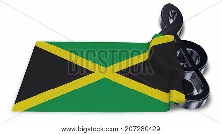 clef symbol symbol and flag of jamaica - 3d rendering