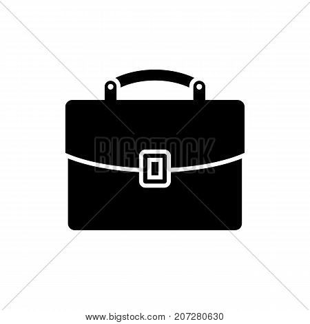 Briefcase icon. Black minimalist icon isolated on white background. Briefcase simple silhouette. Web site page and mobile app design vector element.
