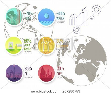 Infographic poster with ecological problems graphics and charts on background of earth silhouette. Polluted air by factories, toxic waste, water pollution vector