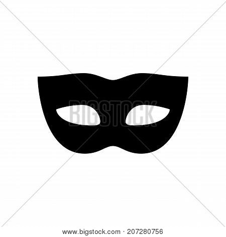 Carnival mask icon. Black minimalist icon isolated on white background. Mask drive simple silhouette. Web site page and mobile app design vector element.