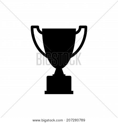 Trophy icon. Black minimalist icon isolated on white background. Trophy simple silhouette. Web site page and mobile app design vector element.