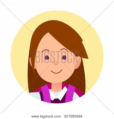Portrait of brunette joyful woman closeup icon in yellow circle on white background vector illustration. Schoolgirl kid avatar profile