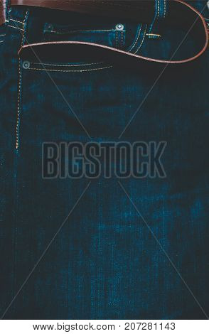 Blue man jeans texture with brown belt