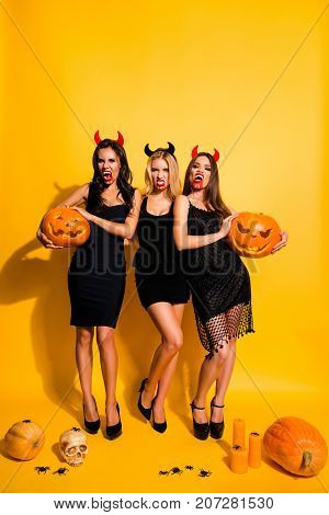 Trick Or Treat! Diabolic, Satanic, Cursed, Paranormal, Terrifying, Gothic Witches With Beaming White