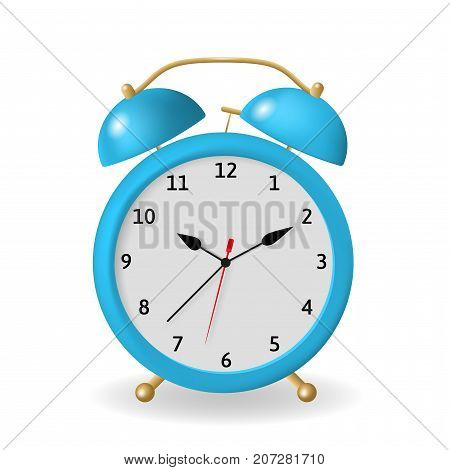 Alarm clock vector illustration. Blue object isolated on a white background. A clock that can be set to ring a bell at a particular time to wake a sleeping person.