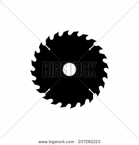 Circular saw blade icon. Black minimalist icon isolated on white background. Saw blade simple silhouette. Web site page and mobile app design vector element.