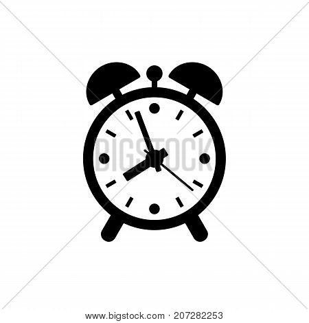 Alarm clock icon. Black minimalist icon isolated on white background. Clock simple silhouette. Web site page and mobile app design vector element.