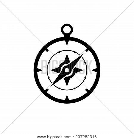 Compass icon. Black minimalist icon isolated on white background. Compass simple silhouette. Web site page and mobile app design vector element.